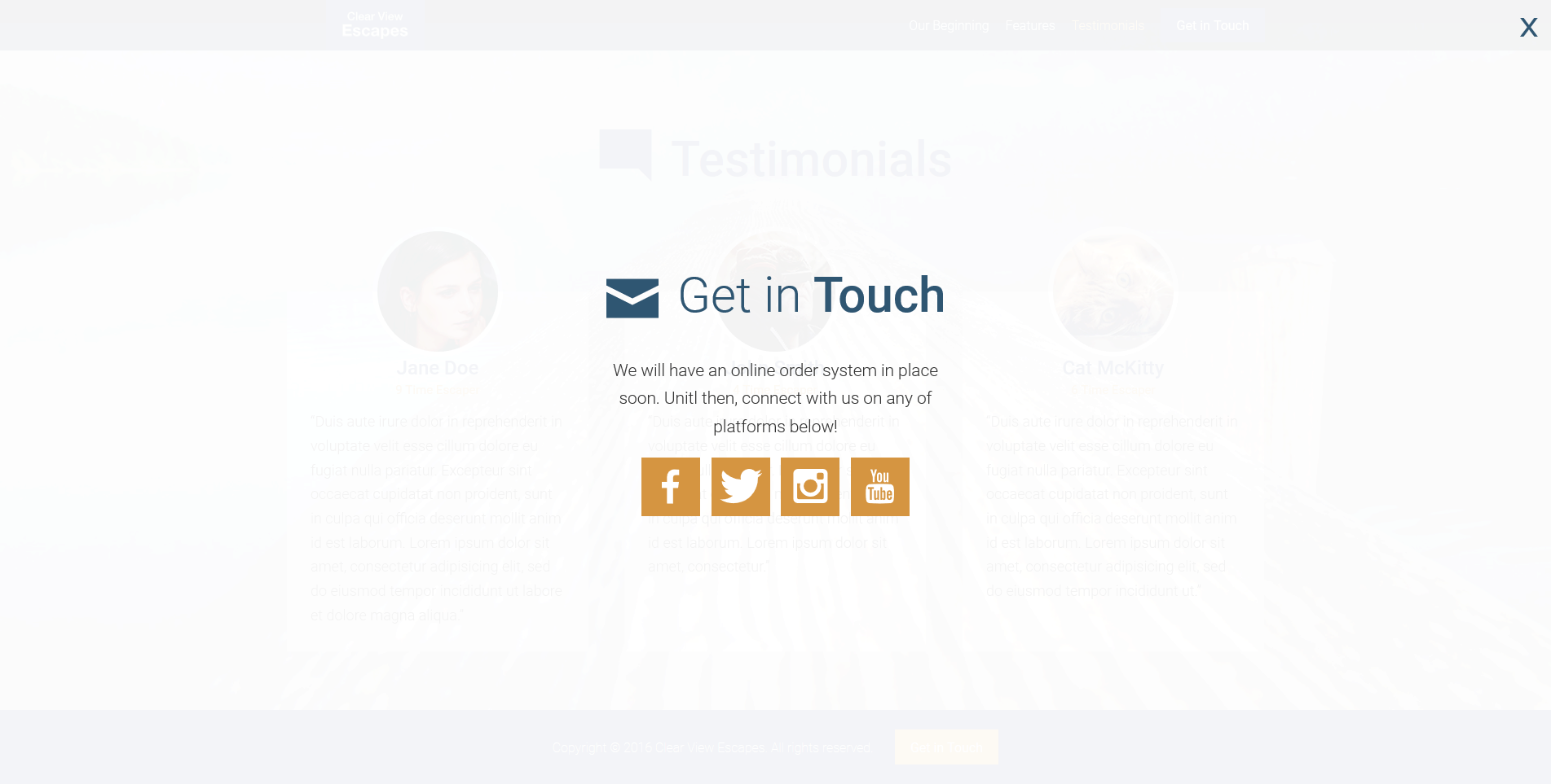 get in touch overlay