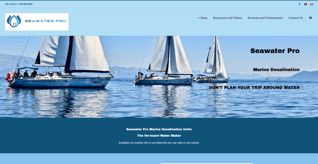 SeaWaterPro Website Screenshot
